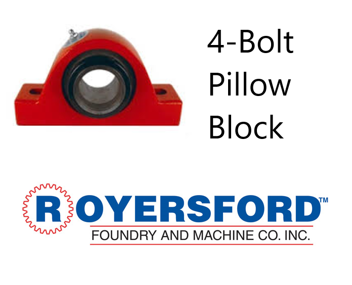 "3-11/16"" ROYERSFORD Spherical 4-Bolt Pillow Block Bearing (Non-Expansion or Expansion)"