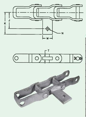 "AS Pintle Chain Attachments With 3/8"" Bolt Hole Weld on Tab (Qty 10), For Spreader Chains 662, 667"