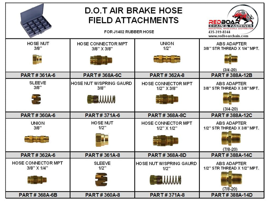 DOT AIR BRAKE HOSE FIELD ATTACHABLE ASSORTMENT for J1402 Rubber Hose Metal Tray NEW!