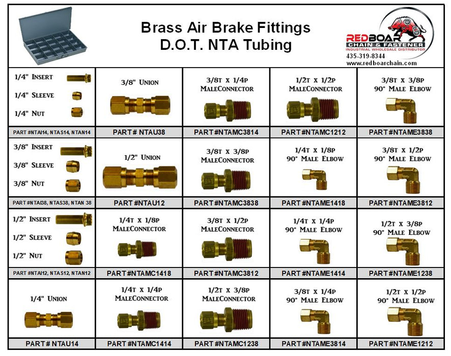 D.O.T. BRASS AIR BRAKE FITTING ASSORTMENT FOR NYLON TUBING 20HOLE METAL TRAY NEW!