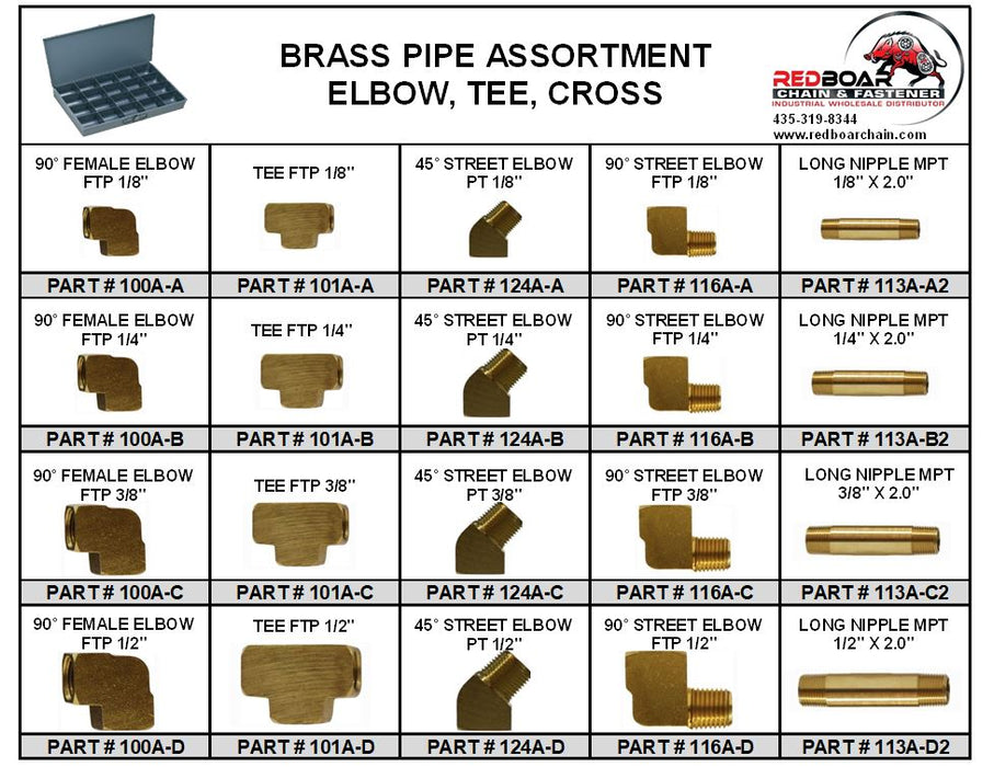 BRASS PIPE ELBOW, TEE  FITTING ASSORTMENT IN METAL LOCKING TRAY