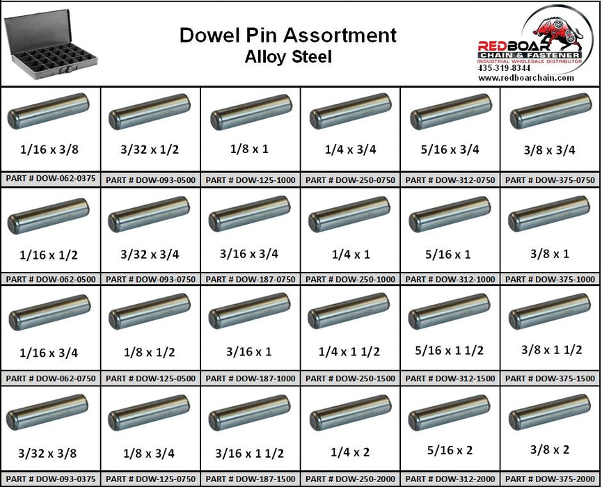 Dowel Pin Alloy Steel Assortment In 24 Hole Metal Locking Tray