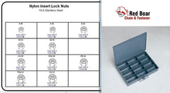 STAINLESS NYLON LOCK NUT ASSORTMENT IN METAL TRAY, 18-8 SS LOCK NUTS