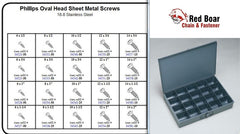 STAINLESS OVAL HEAD SHEET METAL SCREW PHILL ASSORTMENT IN LOCKING METAL TRAY  KIT