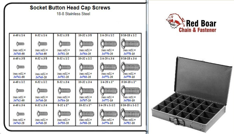 STAINLESS BUTTON HEAD SOCKET CAP SCREW ASSORTMENT METAL LOCKING TRAY  KIT