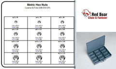 METRIC HEX NUT M3 - M14 ASSORTMENT METAL TRAY  KIT