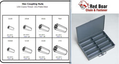 Hex Coupling Nut Assortment in Metal Locking Tray