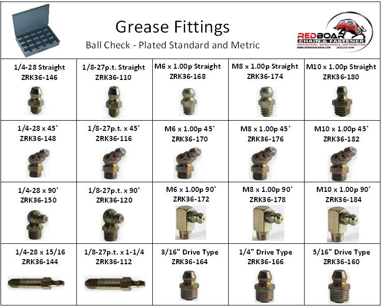 GREASE ZERK FITTING STANDARD AND METRIC ASSORTMENT 20HOLE METAL TRAY NEW!