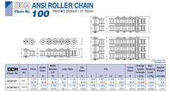 #100-2R OCM OIL PORT SOLID BUSH ROLLER CHAIN FOR LONG LIFE