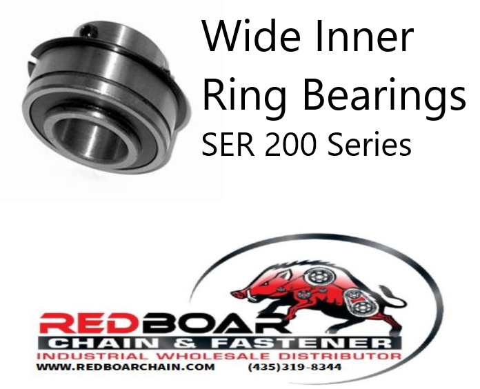 SER-206-20 Wide Inner Ring Bearing W/ Set Screw Locking