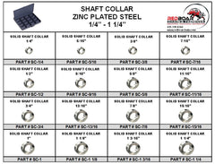 "Solid Shaft Collar Assortment in Metal Locking Tray 1/4""-1-1/4"""