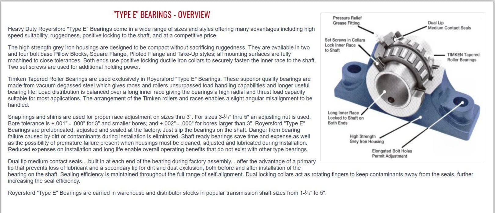 20-04-0500, ROYERSFORD TYPE E 2-Bolt Pillow Block Bearing, 5 with Timken Tapered Roller Bearings