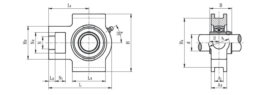 Take-Up Bearing Wide Slot Bore 1-7//16 in