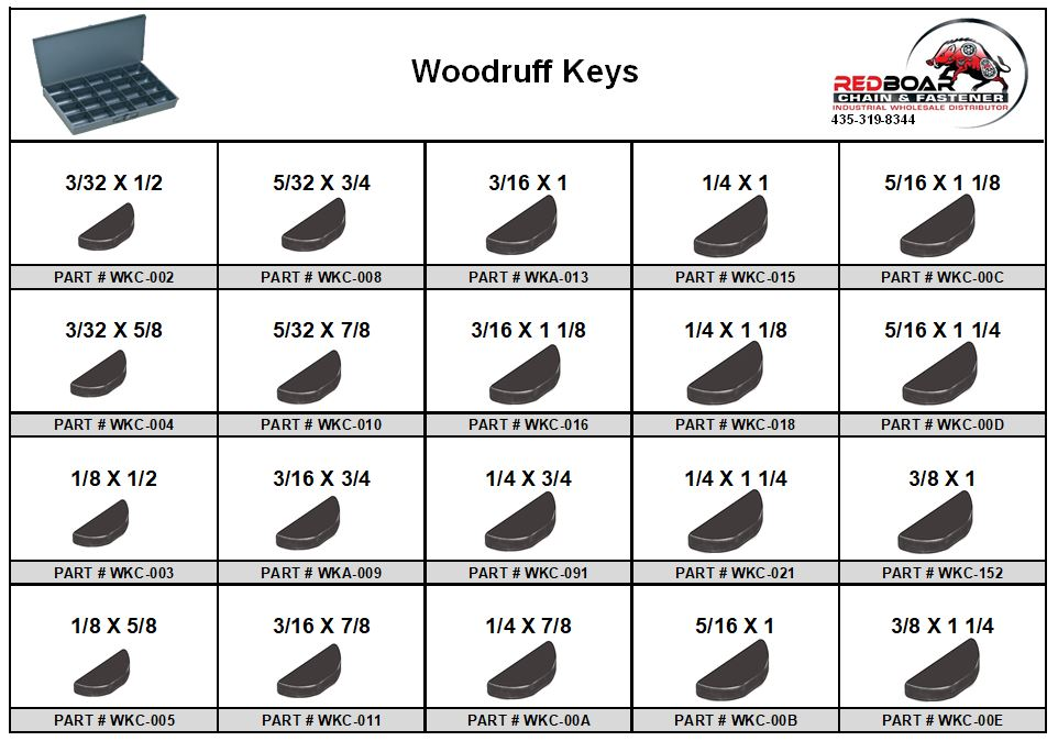 WOODRUFF KEY ASSORTMENT  IN LOCKING METAL DRAWER, TRA