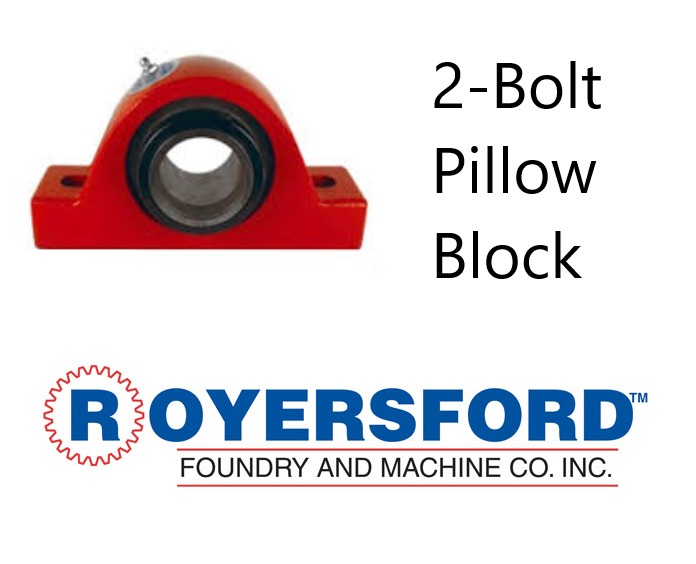 "1-15/16"" ROYERSFORD Spherical 2-Bolt Pillow Block Bearing (Non-Expansion or Expansion)"