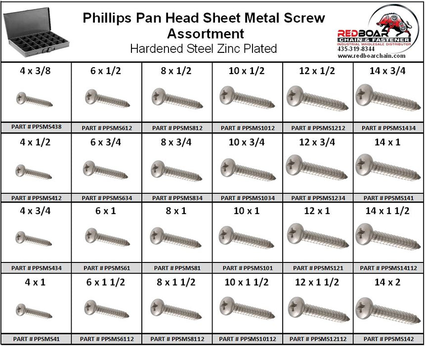 Pan Head Phillips Sheet Metal Screw Assortment Zinc in Metal Locking Tray
