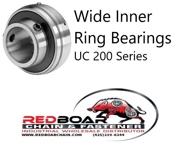 UC-207-23 Wide Inner Ring Bearing W/ Set Screw Locking
