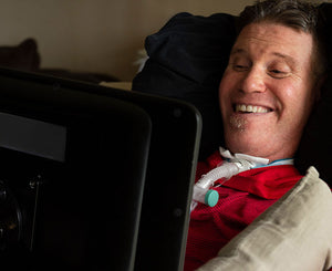 Man with ALS using a Tobii Dynavox I-Series SGD