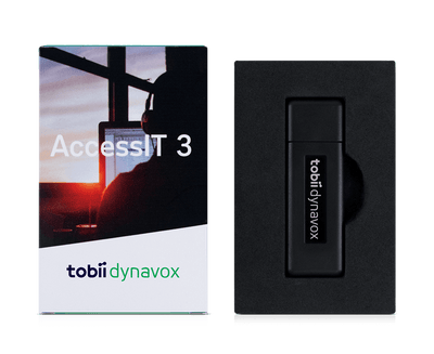 Tobii Dynavox AccessIT in box insert and front of box