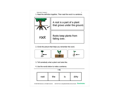 Roots of a tree learning activity