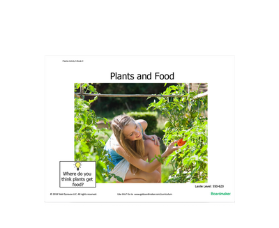 Activity book about plants and food