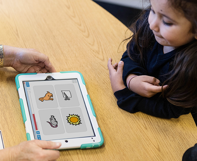 Child learning with Tobii Dynavox Accessible Literacy Learning