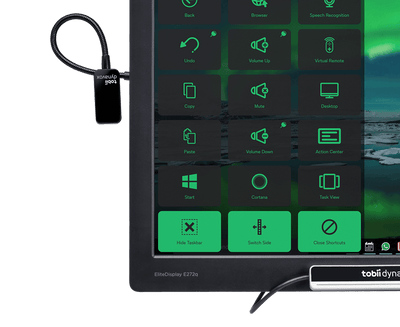 Tobii Dynavox EyeR plugged into Monitor with Windows Control and PCEye Plus