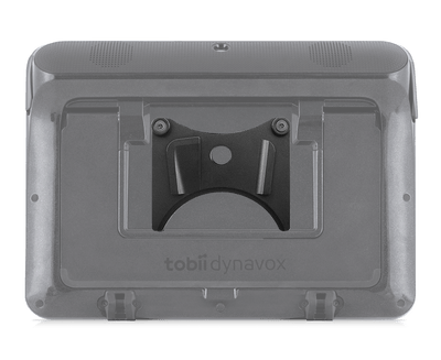 Tobii Dynavox I-110 Quick Release Adapter Plate mounted on device back view