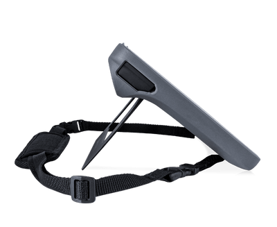 Side view of Shoulder Strap attached to Tobii Dynavox I-110 AAC device
