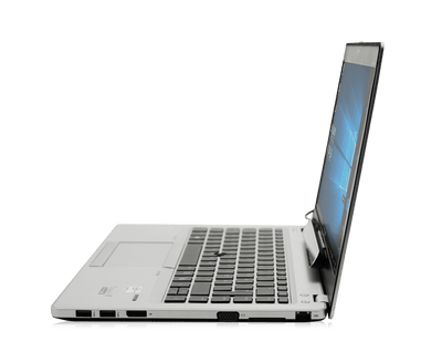Sideview of the Tobii Dynavox PCEye Mini eye tracker attached to a laptop