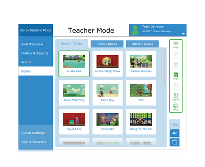 Tobii Dynavox Accessible Literacy Learning books in teacher mode
