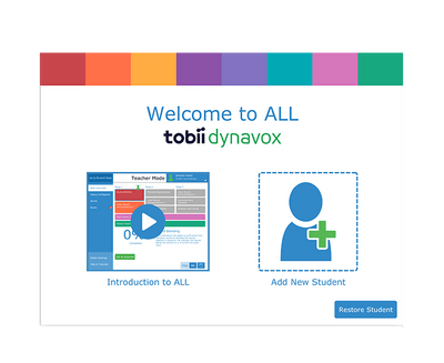 Tobii Dynavox Accessible Literacy Learning start up screen