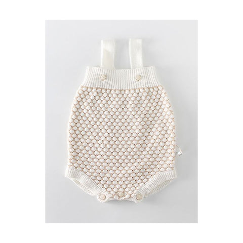 Crochet Dot Romper in Cream