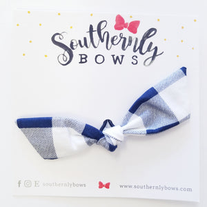 Knotted Bow Hair Tie- Blue check