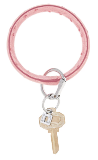 Oventure Leather Key Ring- Dusty Rose Ostrich