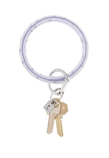 Oventure Leather Key Ring- Lavender Ostrich