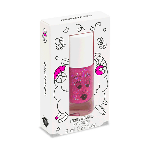 Nailmatic Clear Raspberry Glitter Water-Based Nail Polish