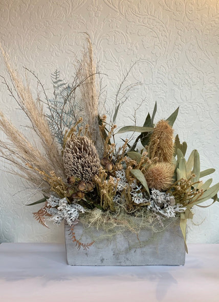 Dried Concrete Vase Arrangement