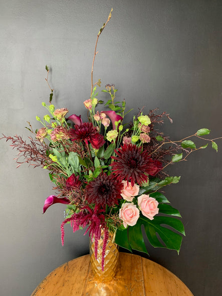 Pretty Burgundy's in a Gold Vase