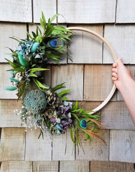 Blue dried wreath