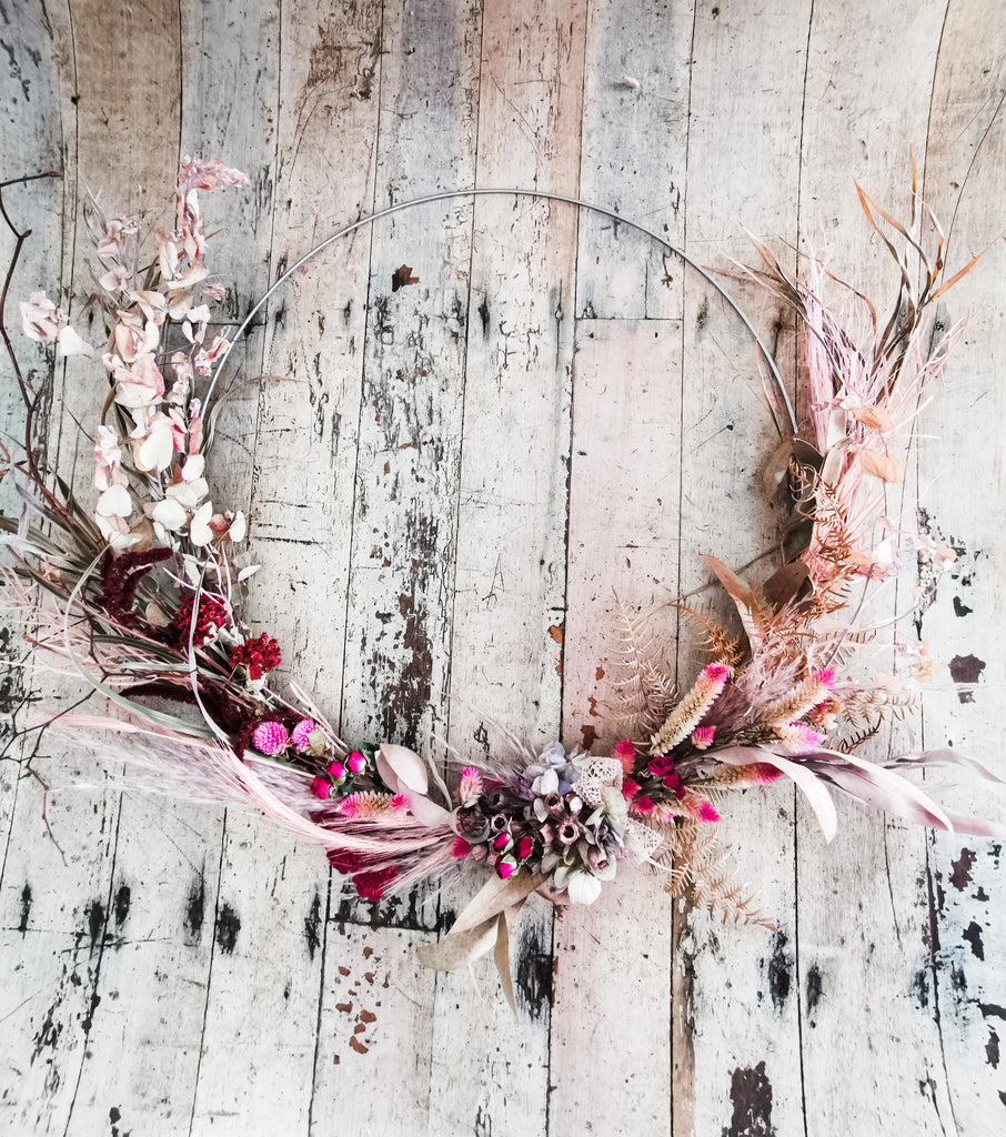 Large Pink dried wreath