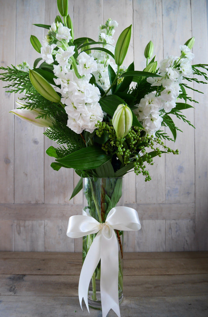 Whites & Foliage in a Vase Arrangement