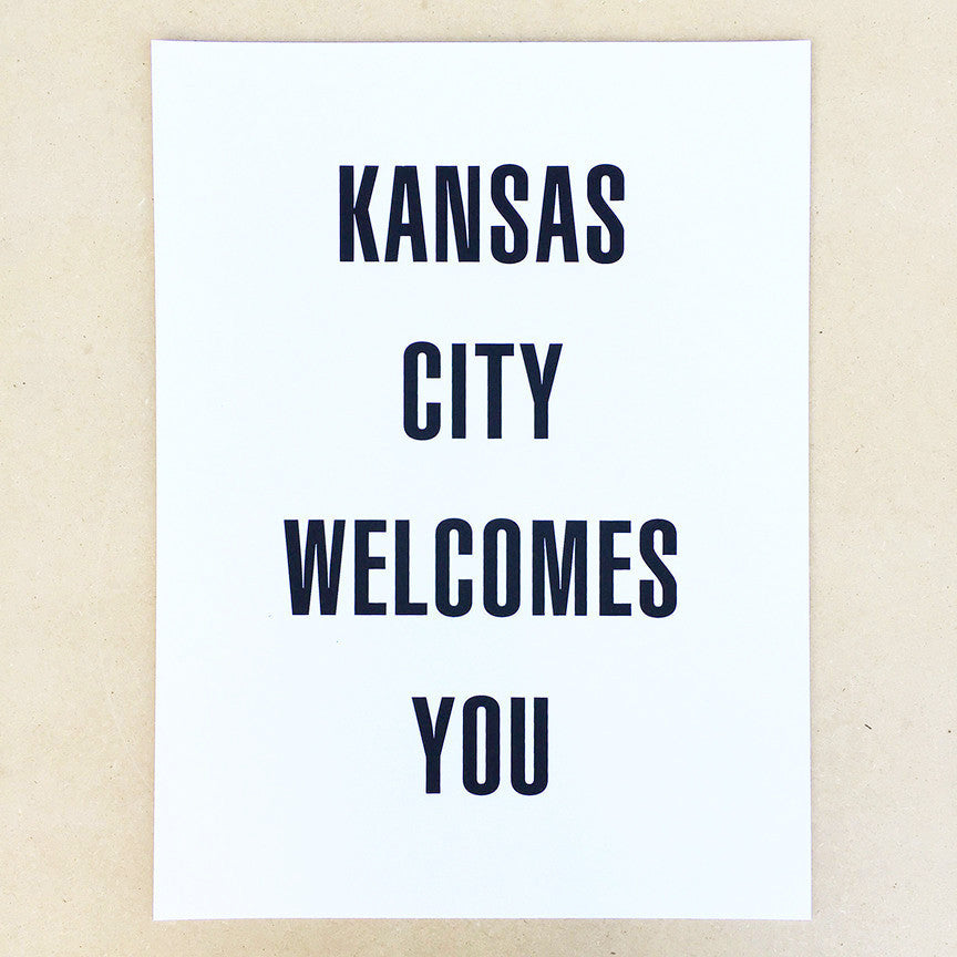 "Kansas City Welcomes You 12""x16"" Print"