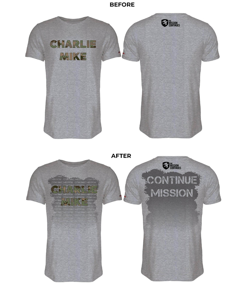 Mission Continues Charlie MIke Sweat Tee Sweat Activated Warriors' Ascent S Stone