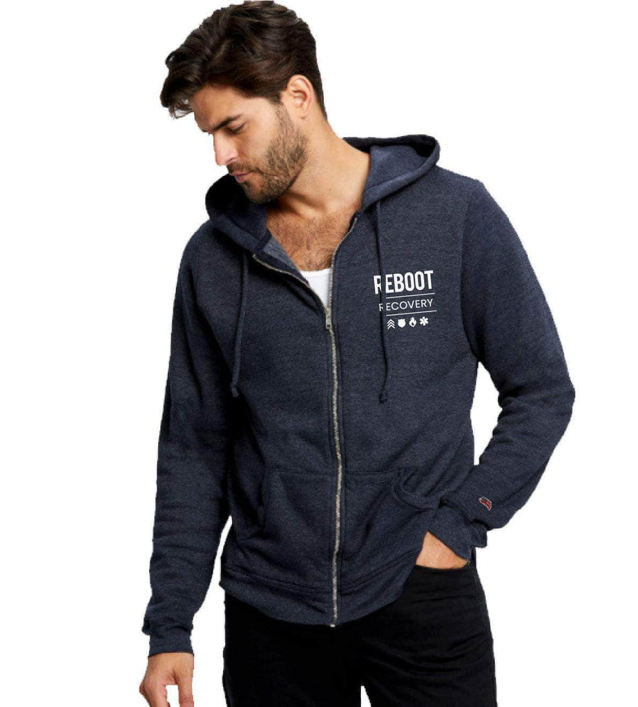 REBOOT Recovery Zip Hoodie Jacket Authentically American S Heather Navy