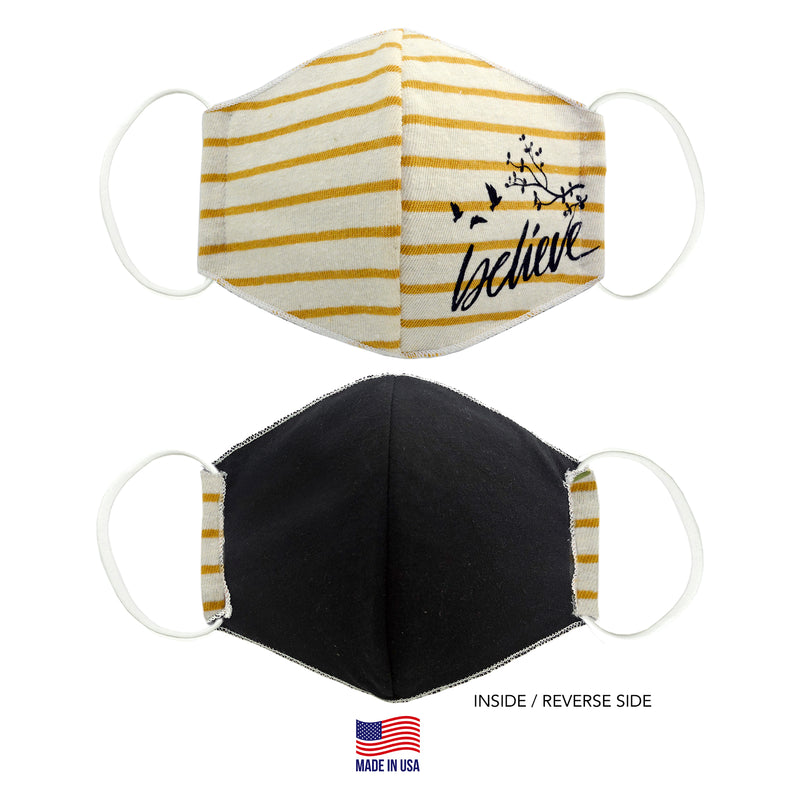 MADE IN THE USA BELIEVE YELLOW STRIPED 3D FABRIC FACE MASK