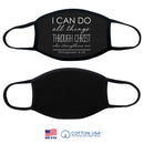 100% COTTON MADE IN THE USA PHILIPPIANS 4:13 BLACK FABRIC FACE MASK