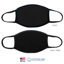 100% COTTON MADE IN THE USA PLAIN BLACK FABRIC FACE MASK
