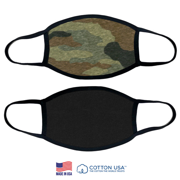 100% COTTON MADE IN THE USA PLAIN CAMOUFLAGE FABRIC FACE MASK
