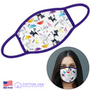 100% COTTON MADE IN THE USA CAT WITH UMBRELLA WHITE FABRIC FACE MASK